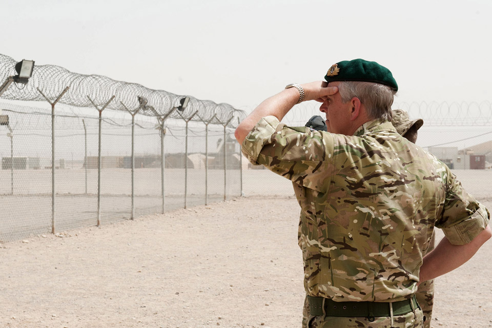 The Duke of York surveys the view during his visit to Aghanistan