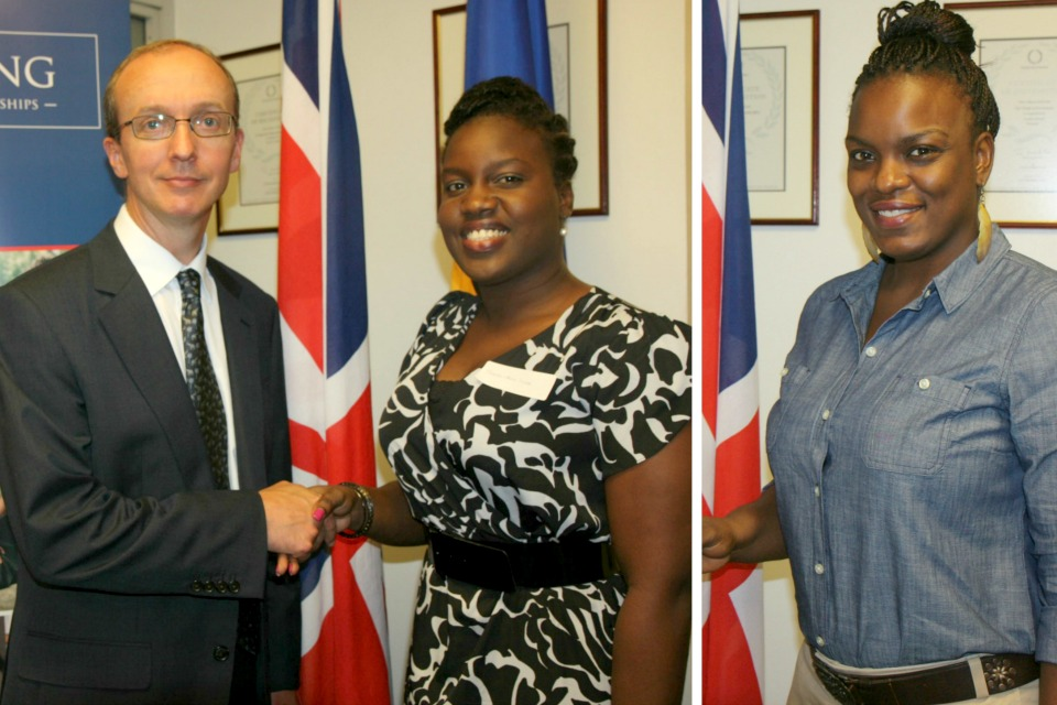 Deputy High Commissioner Colin Dick congratuating Shena-Ann Ince and Jihan Williams