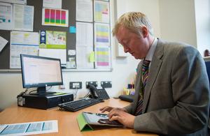 Headteacher typing