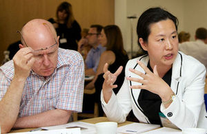 Delegates in discussion during the Healthcare UK business forum