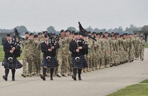 Soldiers of H Squadron, 1st Royal Tank Regiment, return to RAF Honington from a three-month deployment to Afghanistan