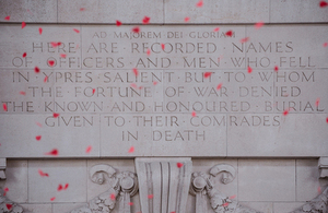 Poppies falling from the roof at the Menin Gate in Ypres (stock image) [Picture: Sergeant Adrian Harlen, Crown copyright]