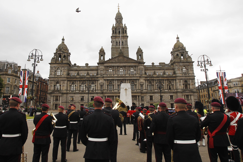 The wreath-laying ceremony at the Cenotaph in Glasgow.