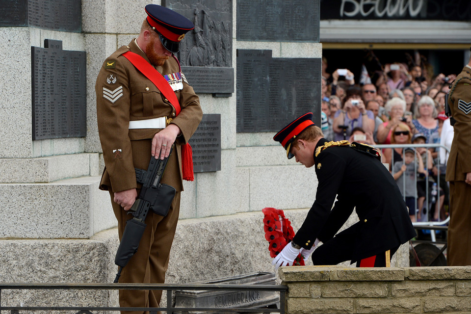 Prince Harry laying a wreath at the war memorial in Folkestone