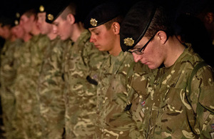 UK service personnel at the ceremony in Camp Bastion marking the centenary of Britain's entry into the First World War [Picture: Corporal Daniel Wiepen RLC, Crown copyright]