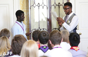 Young Social Action Ambassadors at a Downing Street event.