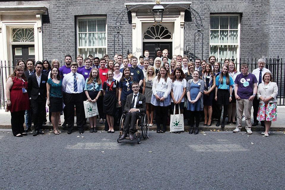 Group of Young Social Action Ambassadors outside Number 10 Downing Street.