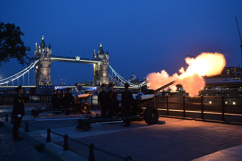 21-gun salute at the Tower of London