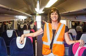 Claire Perry on First Great Western train.