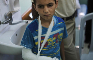 A boy with a fractured arm.