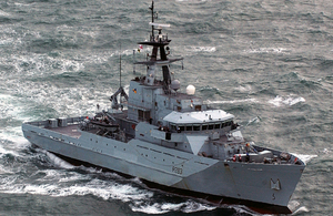 HMS Mersey, a River Class offshore patrol vessel used mainly for fishery protection duties [Picture: Crown copyright]