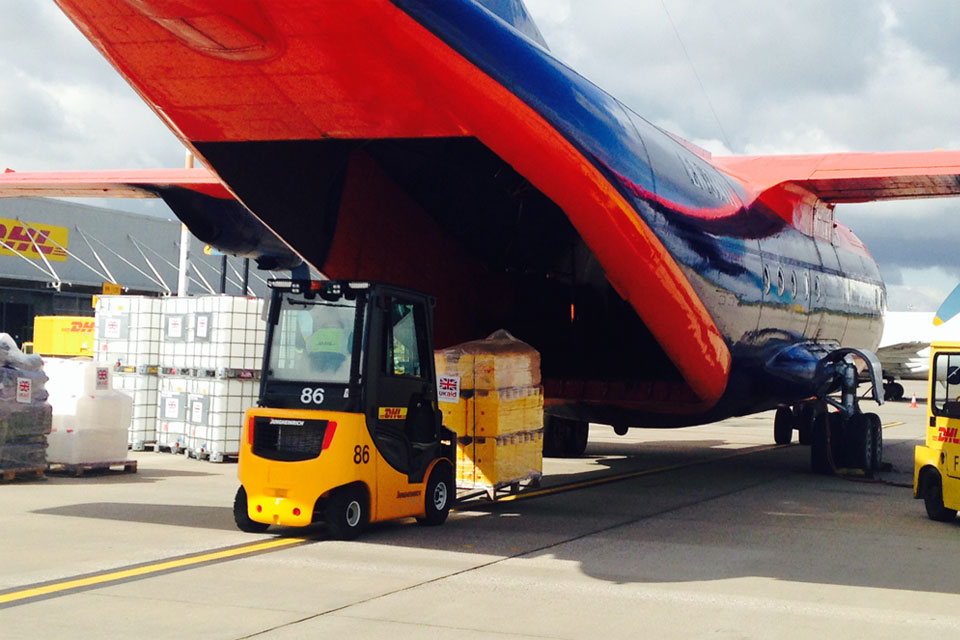 A further delivery of UK aid for people caught up in the violence in Iraq has left East Midlands Airport this afternoon aboard an Antonov AN-12. Picture: Jessica Seldon/DFID