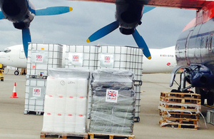 UK aid for Iraq being loaded at East Midlands Airport. Picture: Jessica Seldon/DFID
