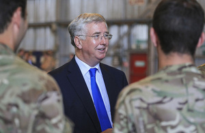 Defence Secretary Michael Fallon meeting British service personnel at RAF Akrotiri in Cyprus [Picture: Corporal Neil Bryden RAF, Crown copyright]