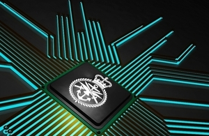 Graphic showing the Ministry of Defence logo within a circuit board
