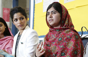 Freida Pinto and Malala Yousafzai take part in a youth discussion at the Girl Summit 2014. Picture: Jessica Lea/DFID
