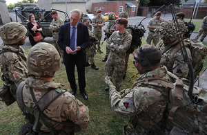 Minister for Reserves, Julian Brazier meets reservists during visit to The Royal Wessex Yeomanry [Photographer: Shane Wilkinson. Crown copyright]