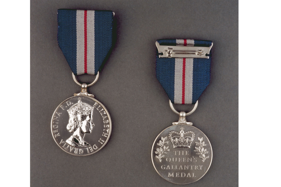 The Queen's Gallantry Medal is awarded for exemplary acts of bravery
