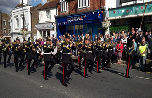 Photo of the band of the Royal Logistics Corp marching in East Grinstead