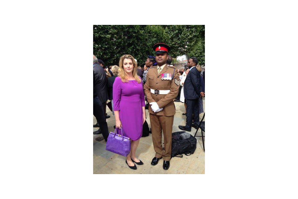 Sergeant Johnson Beharry VC with Penny Mordaunt at ceremony at Brent