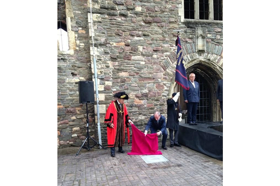 Unveiling of the Victoria Cross paving stone laid in honour of Captain Douglas Reynolds.