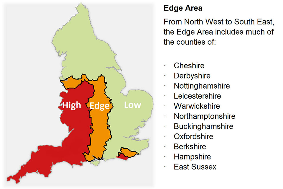 Map showing the Badger Edge Vaccination Scheme edge areas