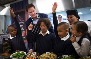 Deputy Prime Minister Nick Clegg launching free school meals at a school.