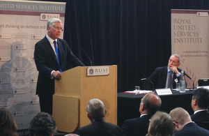 Defence Secretary Michael Fallon speaking at the Royal United Services Institute [Picture: Crown copyright]