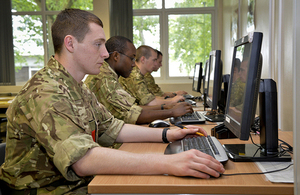 Phase 1 army recruits taking lessons in maths and English at Pirbright [Picture: Corporal Si Longworth RLC, Crown copyright]