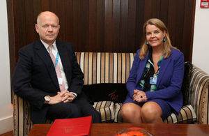 William Hague and NATO Secretary General's Special Representative on Women, Peace and Security, Mari Skåre