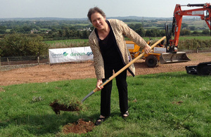 Baroness Kramer in Newcourt, to cut the first turf on the £1.5 million new station