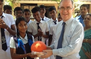 British High Commissioner with students from the Mullaitivu Hindu Tamil Vidyalam School