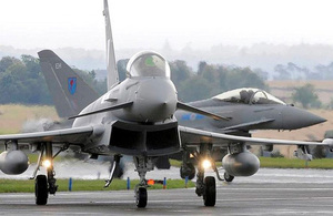 Two 6 Squadron Typhoon jets at RAF Leuchars [Picture: Senior Aircraftman Matt Baker, Crown copyright]