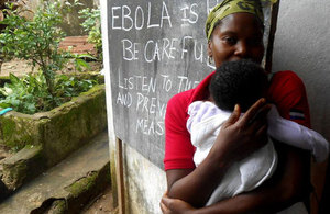 In rural Freetown, Sierra Leone, Save the Children, with support from the UK government, is leading a community sensitisation programme where community leaders are trained on how to spread the word about preventing Ebola. Picture: Save the Children