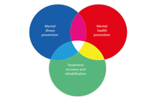 Venn diagram with Mental Illness Prevention, Mental Health Protection and Treatment, Recovery and Rehabilitation overlapping.