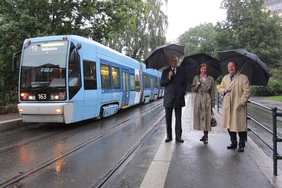 Ambassadors at tram stop