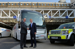 Graham Dalton, Chief Executive of the Highways Agency, signs Memorandum of Understanding with Dean Finch, Chief Executive of National Express Group