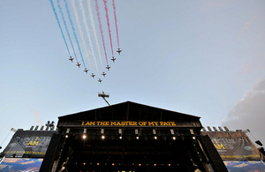 The Red Arrows' flypast at the Invictus Games opening ceremony [Picture: Sergeant Rupert Frere RLC, Crown copyright]