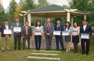 HE Christopher Stuart with Mongolian Chevening scholars