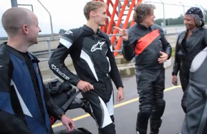 World superbike rider Chaz Davies and comedian, Alan Davies