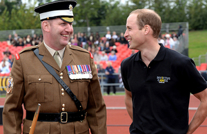 Sergeant Major Vern Stokes, in charge of the ceremonial support to the Games, with Prince William [Picture: Sergeant Rupert Frere RLC, Crown copyright]