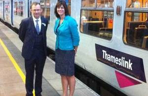 Clare Perry with Thameslink train.