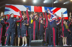 The Team GB Invictus Games squad on stage at the closing ceremony [Picture: Petty Officer Airman (Photographer) Owen Cooban, Crown copyright]