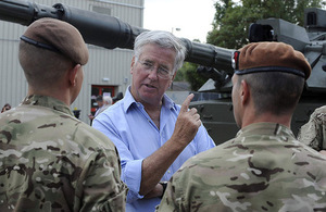 Defence Secretary Michael Fallon meeting soldiers at Tidworth [Picture: Richard Watt, Crown copyright]