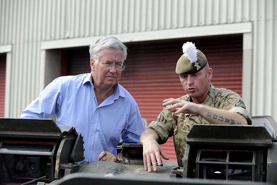 Michael Fallon and Sergeant Simon Ashton