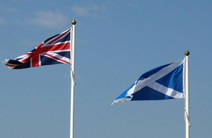 United Kingdom and Scottish flags