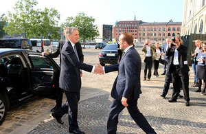Foreign Secretary greeted upon arrival by Danish Foreign Minister Martin Lidegaard