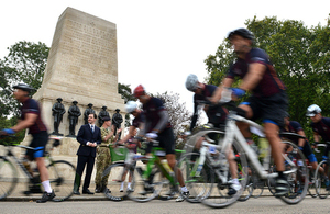 Chancellor launches Coldstream Guards three-day cycle ride to Bennecourt, France from the Horse Guards Memorial