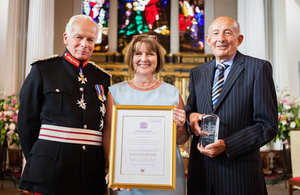 Representatives of the Severn Hospice receiving their Queen's Award for Voluntary Service.