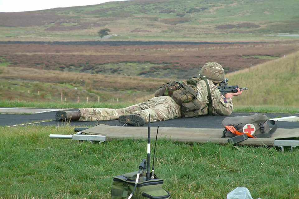 Army reservist using the new firing range